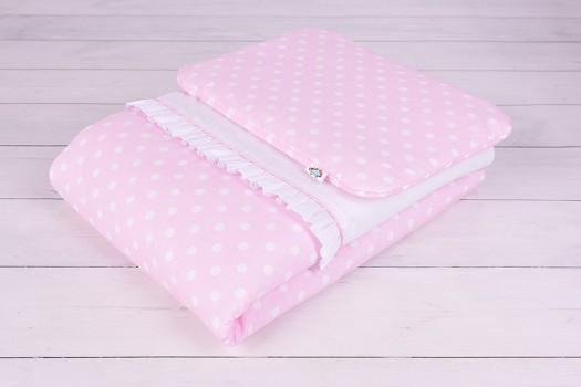 Pościel niemowlęca z wypełnieniem (75x100, 30x40) Kolrowe Sny różowa w białe grochy Oscar Baby