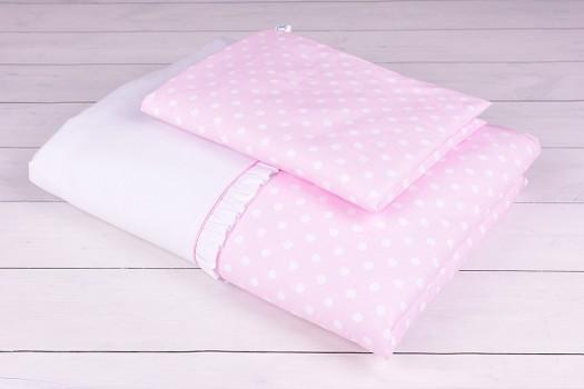 Pościel niemowlęca 90x120 lub 40x60 białe grochy na różowym tle