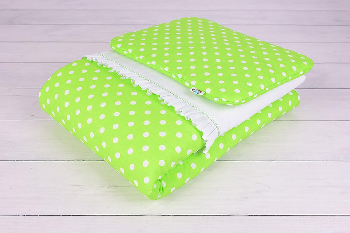 Pościel niemowlęca z wypełnieniem (75x100, 30x40) Kolorowe Sny zielona w białe grochy