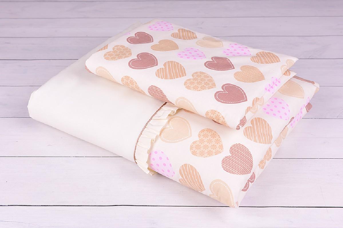 Pościel niemowlęca 90x120 lub 40x60 różowe i brązowe serduszka na kremowym tle
