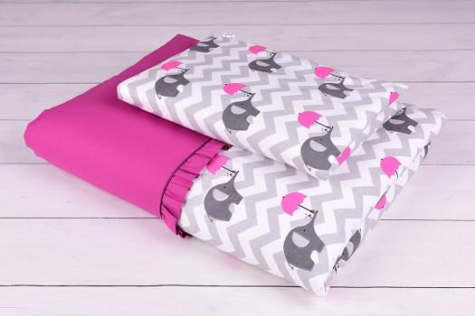 Pościel niemowlęca 90x120 lub 40x60 szaro-różowe słoniki na zygzaku