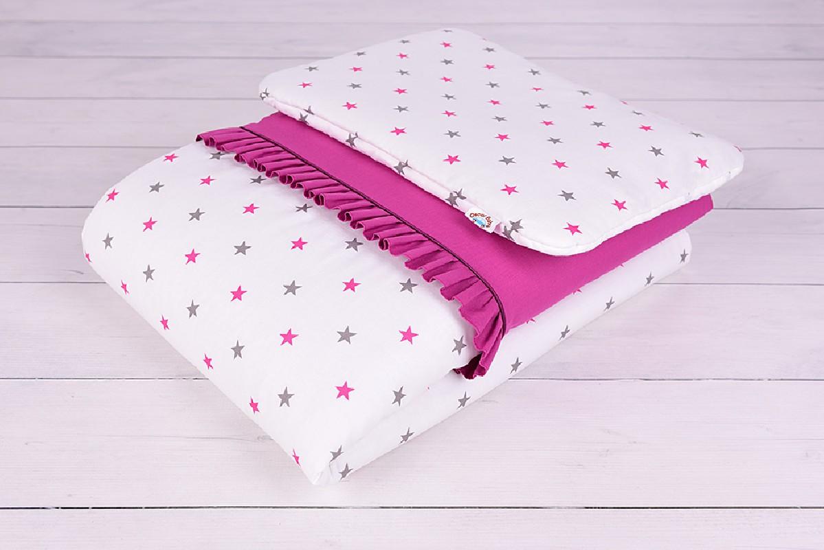Pościel niemowlęca z wypełnieniem (75x100, 30x40) szaro-różowe gwiazdki na białym tle