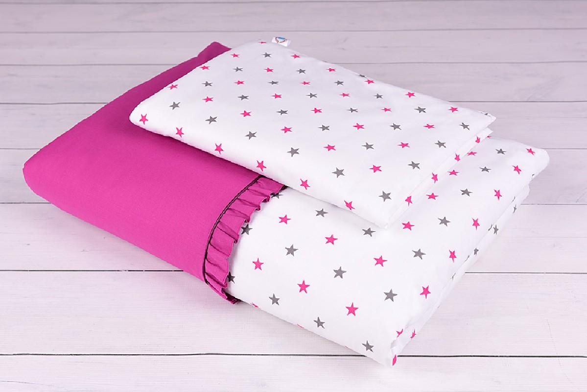 Pościel niemowlęca 90x120 lub 40x60 szaro-różowe gwiazdki na białym tle