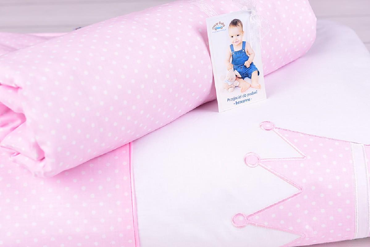 Pościel niemowlęca z wypełnieniem (75x100, 30x40) białe kropeczki na różowym tle z koroną