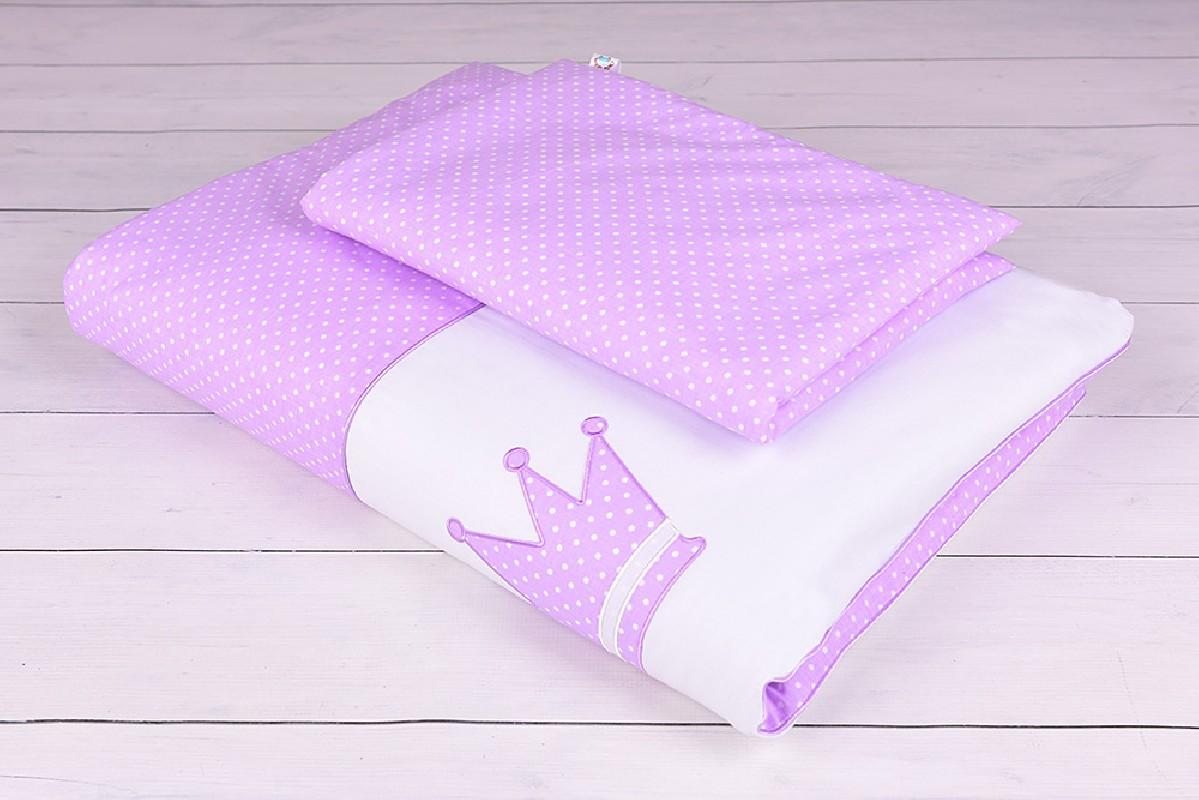 Pościel niemowlęca 90x120 lub 40x60 białe kropeczki na fioletowym tle