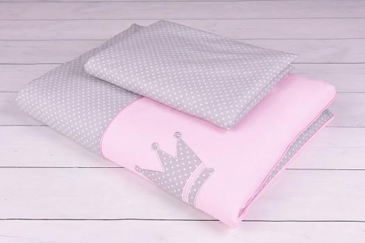 Pościel niemowlęca 90x120 lub 40x60 białe kropeczki na szaro-różowym tle z koroną