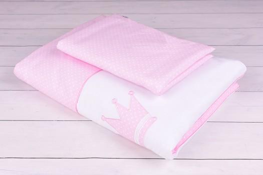 Pościel niemowlęca 90x120 lub 40x60 białe kropeczki na różowym tle z koroną