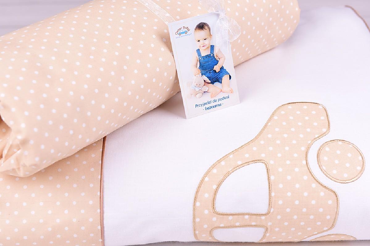 Pościel niemowlęca z wypełnieniem (75x100, 30x40) białe kropeczki na beżowym tle z autkiem