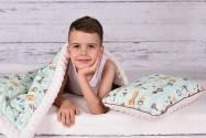 Wyprawka dla przedszkolaka (kocyk 100x135, poduszka 30x40  + woreczek na wyprawkę GRATIS)