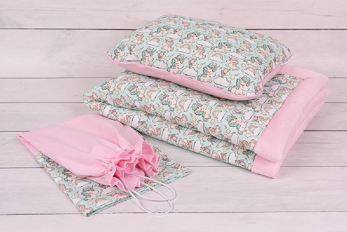 Wyprawka do przedszkola dla dziewczynki, kocyk, poduszka+ woreczek Gratis , bawełna-minky