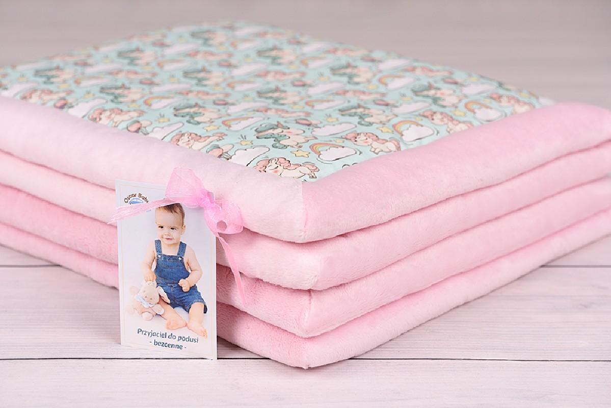 kocyk dla niemowlaka 65x75, różowo-pistacjowy