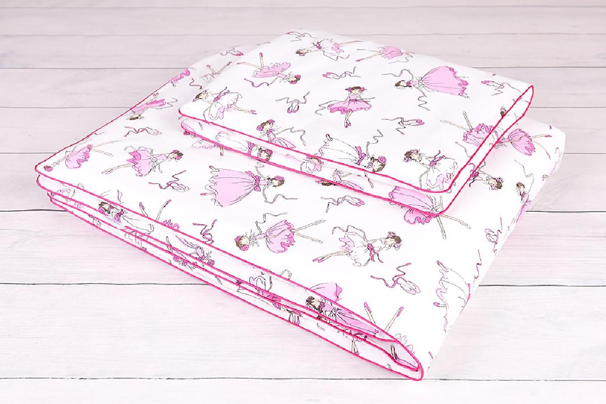 Pościel niemowlęca 90x120 , 40x60 różowe tancereczki na białym tle