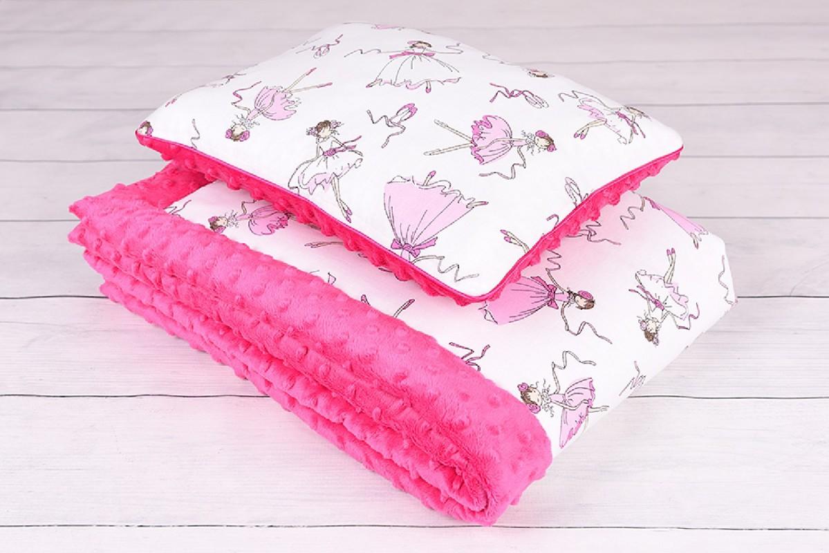 Kocyk dla dziewczynkiWyprawka do przedszkola dla dziewczynki, kocyk, poduszka+ woreczek Gratis , bawełna-minky
